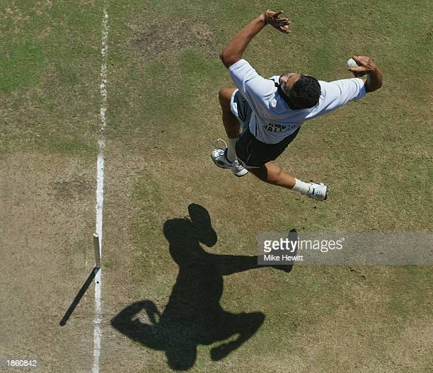 Anil Kumble of India bowling in the nets during a practise session on March 13 2003 at Supersport Park in Centurion South Africa