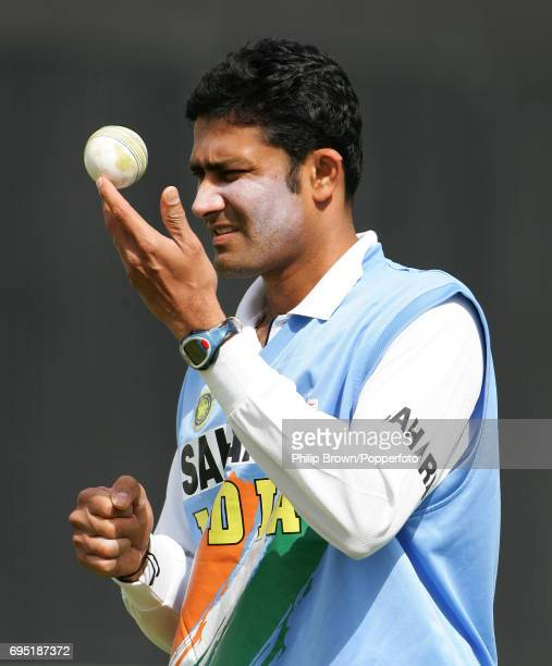Anil Kumble of India during a practice session prior to the 3rd Test Match between India and Australia at the Vidarbha Cricket Association Stadium in...