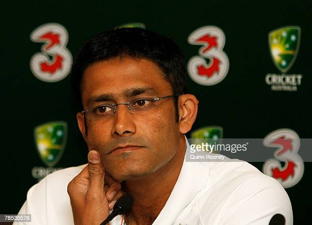 Anil Kumble the captain of India speaks to the media during an Indian team press conference held at the Langham Hotel on December 18 2007 in...