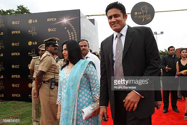 Anil Kumble with his wife during the ICC Annual Awards at the Red Carpet on October 6 2010 in Bangalore India