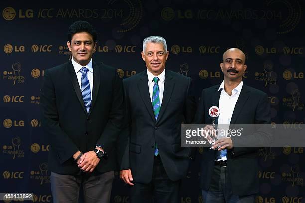 Anil KumbleChairman of the ICC Cricket CommiteeDavid Richardson ICC Chief Executive and Sanjay Chitkara HeadCorporate Marketing LG Electronics pose...