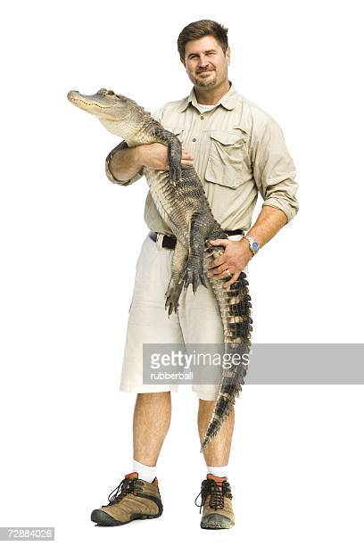 Animal handler with alligator