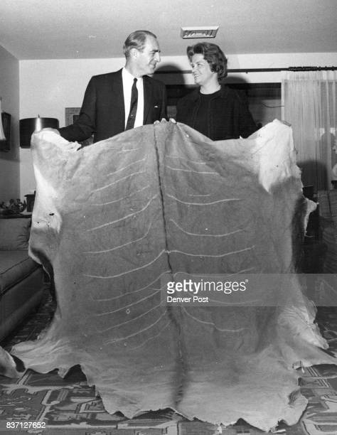Animal Hide Donated to Auction Supreme Court Justice Leonard v B Sutton displays the hide of an eland shot during his recent African safari to Mrs...