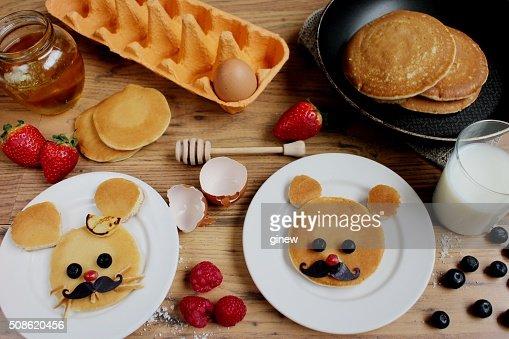 Animal pancakes kid pancake day breakfast : Stock Photo