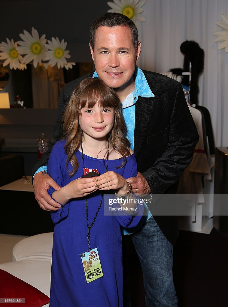Animal Planet's Jeff Corwin (R) and daughter Maya Rose Corwin attend the Minnie Gifting Lounge during the 2013 Radio Disney Awards at Nokia Theatre L.A. Live on April 27, 2013 in Los Angeles, California.