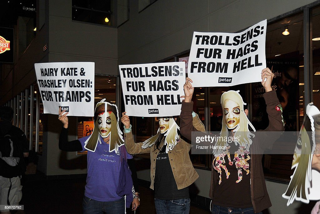 Animal Right Protesters outside Borders where Mary Kate Olsen and Ashley Olsen attended a book signing session for 'Influence' on Novenber 12, 2008 at Borders books store in Westwood, California.