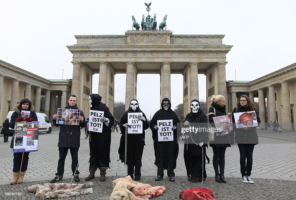 Animal rights activists from PETA (People for the Ethical Treatment of Animals) dressed up as death hold posters reading 'Fur is death' as they demonstrate with fake blood-covered pieces of fur during an anti-fur protest action on November 21, 2012 in front of the Brandenburg Gate in Berlin. LAFARGUE