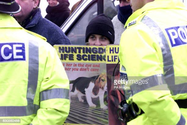 Animal rights activists gather at Diss railway Station for a protest outside the pharmaceutical firm Huntingdon Life Sciences at Occold in Suffolk as...