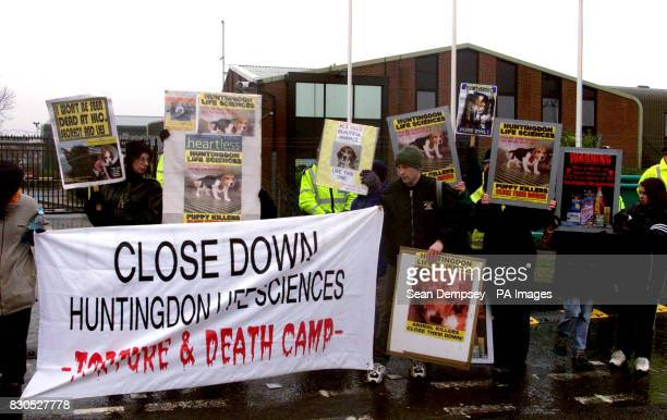 Animal rights activists outside Huntingdon Life Sciences' plant at Occold in Suffolk calling for the company which tests drugs on animals to be shut...