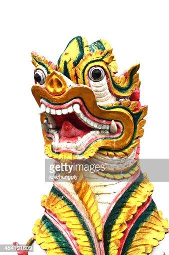 Escultura do Animal no templo tailandês : Foto de stock