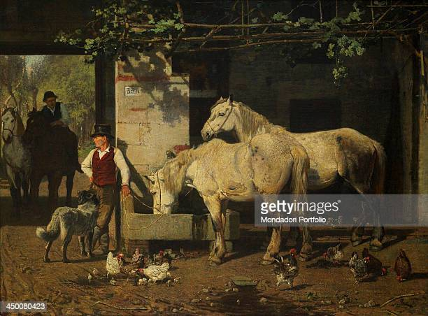 Animals at the watering place by Luigi Chialiva 19th Century oil on canvas 84 x 120 cm