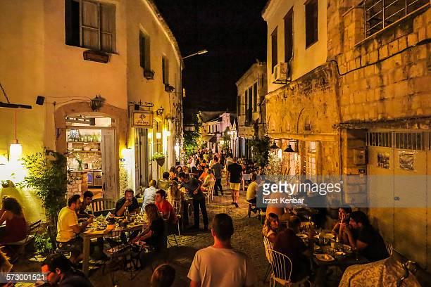 Animated Alacati town evening time, near Izmir
