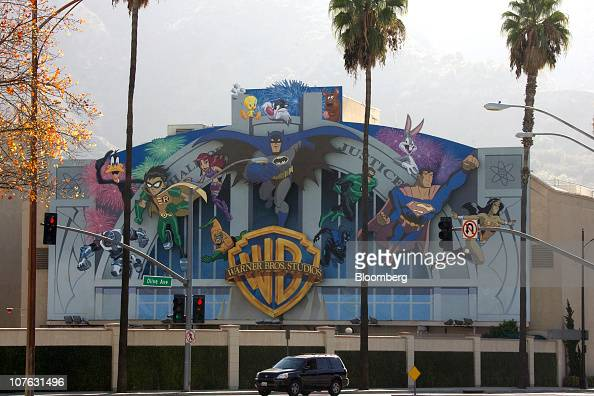 Animated characters and signage are displayed on the Warner Bros Entertainment Inc Studios building in Burbank California US on Saturday Dec 11 2010...