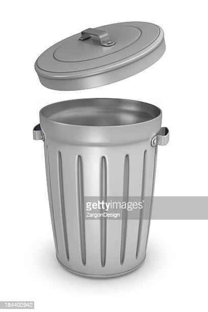 Animated trash bin with the lid hovering