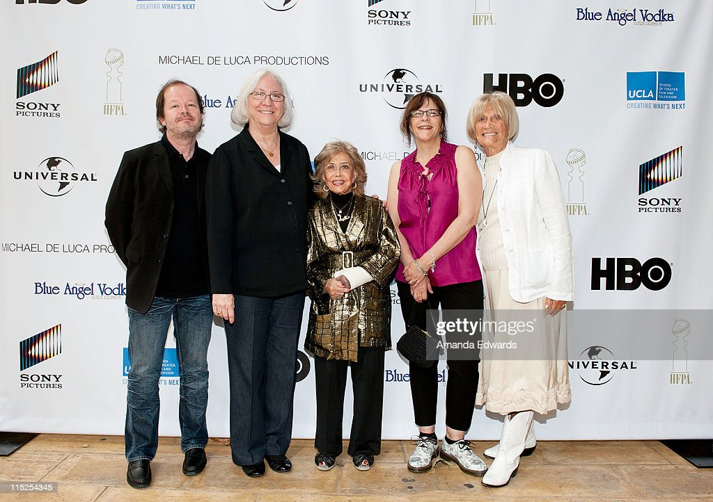 Animation director Chuck Sheetz, UCLA School of Theater, Film and Television Dean Teri Schwartz, voice actress June Foray, UCLA Area Head of Animation Celia Mercer and Film Chair Barbara Boyle arrive at the UCLA Animation Workshop Festival of Animation at the James Bridges Theater at Melnitz Hall on the UCLA campus on June 4, 2011 in Los Angeles, California.