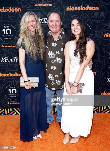 Animator Brittney Lee honoree John Lasseter and animator Lorelay Bove attend the Variety and Nickelodeon 10 Animators To Watch Event at Siren Studios...
