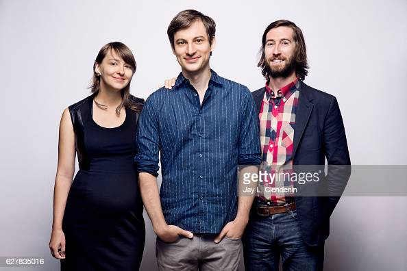Animator Jane Saborski director Dash Shaw and actor Kyle Martin from the film 'My Entire School Sinking Into the Sea' pose for a portraits at the...