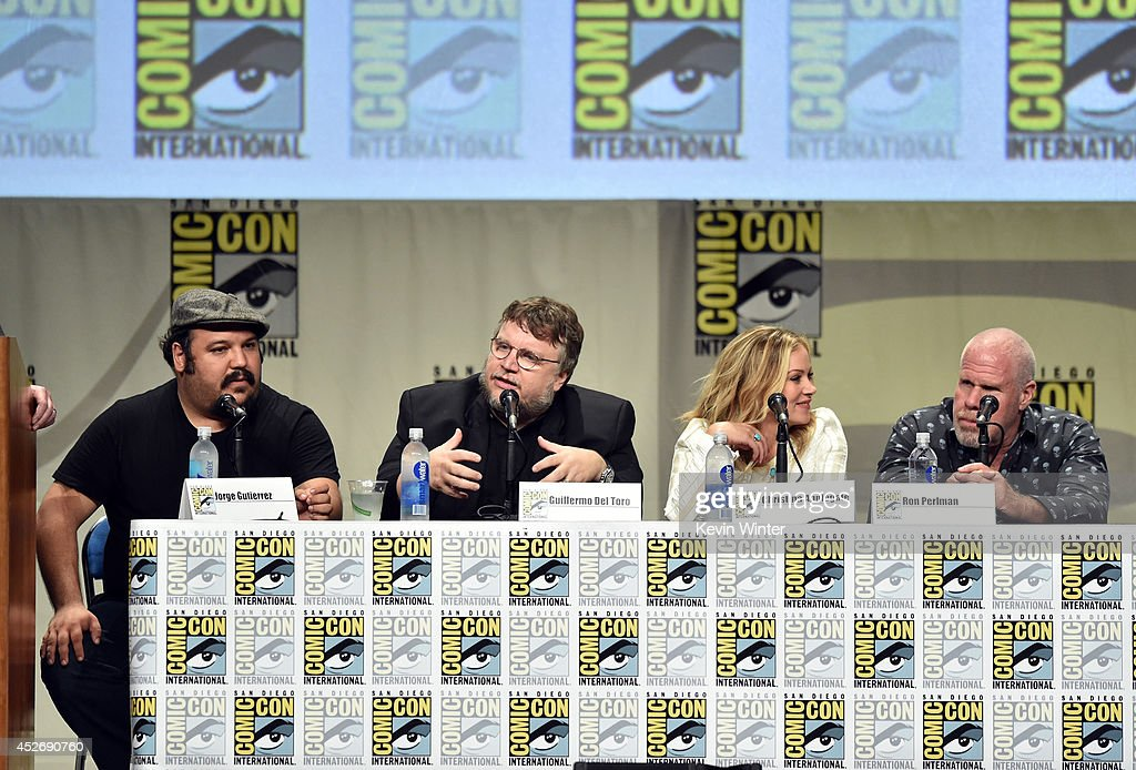 Animator Jorge Gutierrez, director Guillermo del Toro, actors Christina Applegate and Ron Perlman attend the 20th Century Fox presentation during Comic-Con International 2014 at San Diego Convention Center on July 25, 2014 in San Diego, California.