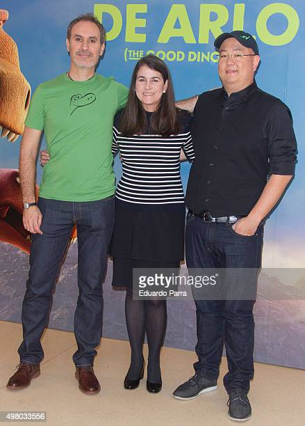 Animator Juan Carlos Navarro producer Denise Ream and director Peter Sohn attend 'The good dinosaur' photocall at Hesperia hotel on November 20 2015...