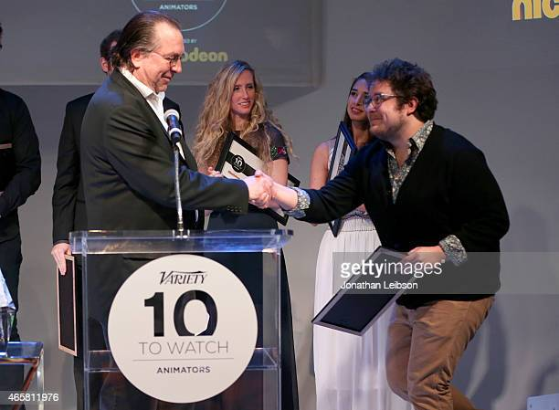 Animator Miguel Jiron and Variety VicePresident Executive Editor Steven Gaydos speak onstage during the Variety and Nickelodeon 10 Animators To Watch...