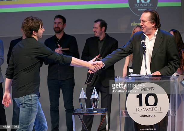 Animator Thomas Grummt and Variety VicePresident Executive Editor Steven Gaydos speak onstage during the Variety and Nickelodeon 10 Animators To...