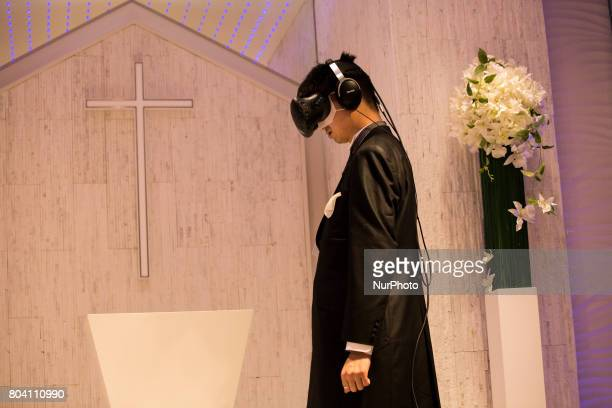 Anime fan marry his VR anime girl crush in front of an altar of a chapel in Tokyo Japan on June 30 2017 A marketing event by Japanese video game...
