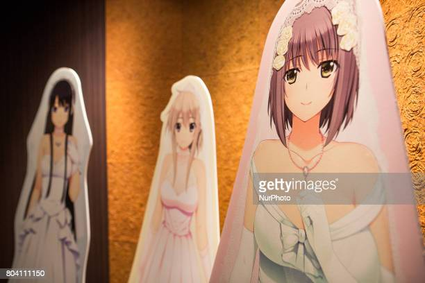 Anime wife crushes Yuki Isurugi Aiko Kurihara and Nono Naruse were seen at the entrance of the wedding chapel in Tokyo Japan on June 30 2017 A...