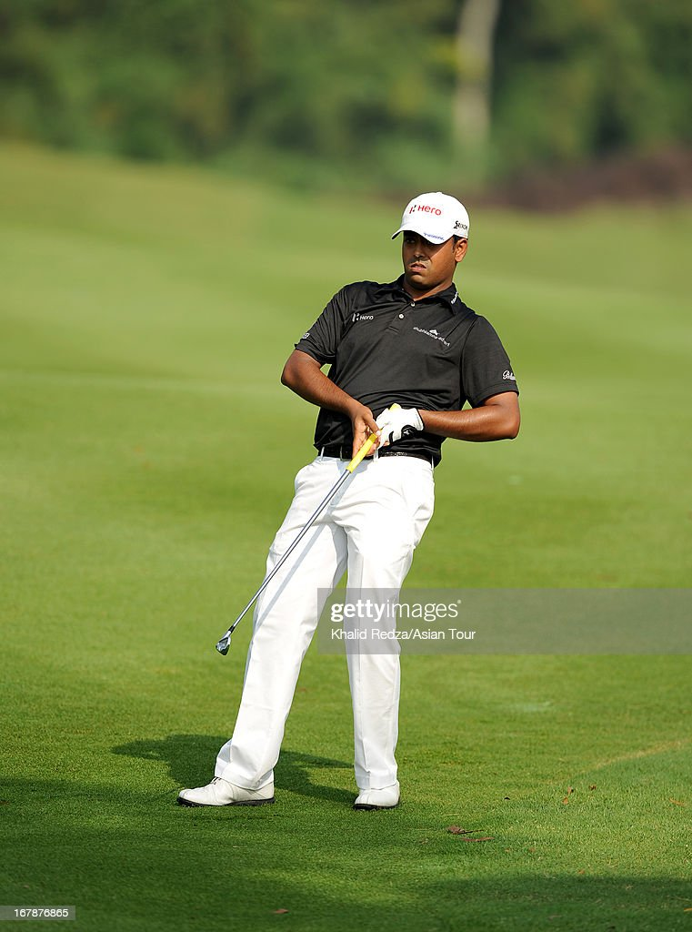 Aninban Lahiri of India plays a shot during round one of the Indonesian Masters at Royale Jakarta Golf Club on May 2, 2013 in Jakarta, Indonesia.