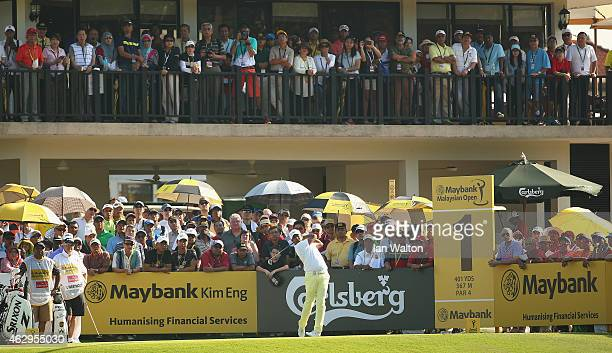 Anirban Lahiri of Inda in action during the final round of the 2015 Maybank Malaysian Open at Kuala Lumpur Golf Country Club on February 8 2015 in...