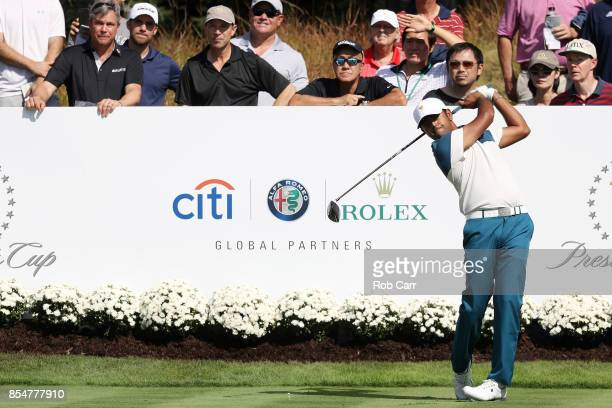 Anirban Lahiri of India and the International Team plays a shot during practice rounds prior to the Presidents Cup at Liberty National Golf Club on...