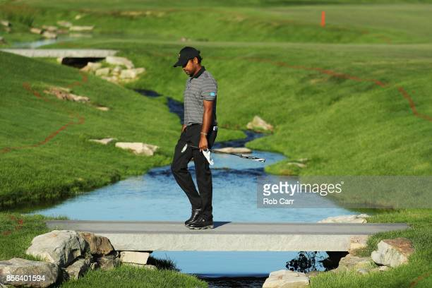 Anirban Lahiri of India and the International Team walks on the 15th hole during Sunday singles matches of the Presidents Cup at Liberty National...