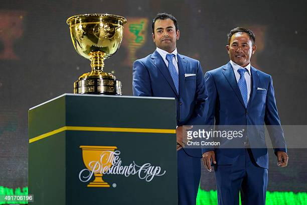 Anirban Lahiri of India and Thongchai Jaidee of Thailand on the International Team are introduced during The Presidents Cup Opening Ceremony at...