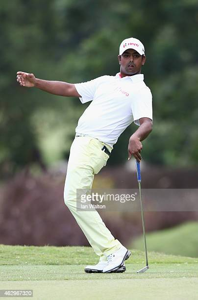 Anirban Lahiri of India celebrates on the 17th green during the final round of the 2015 Maybank Malaysian Open at Kuala Lumpur Golf Country Club on...