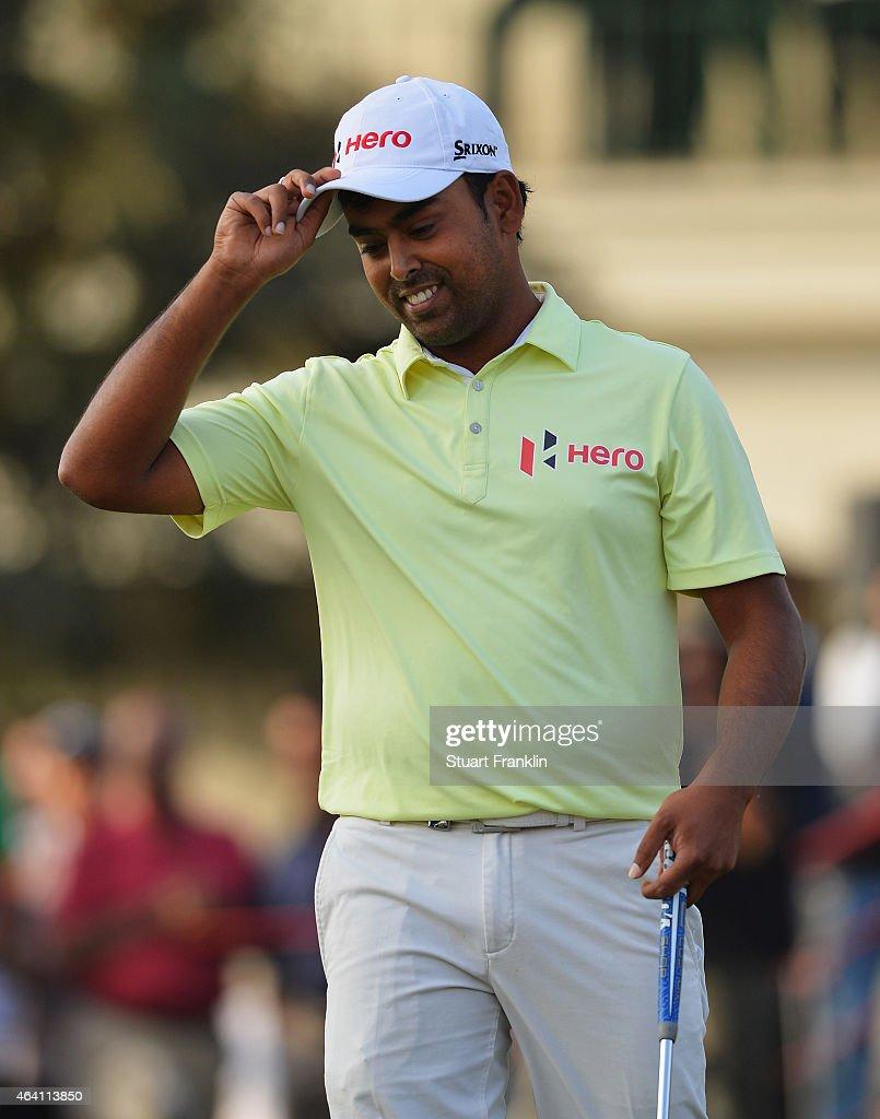 Anirban Lahiri of India celebrates winning the Hero India Open Golf at Delhi Golf Club on February 22, 2015 in New Delhi, India.
