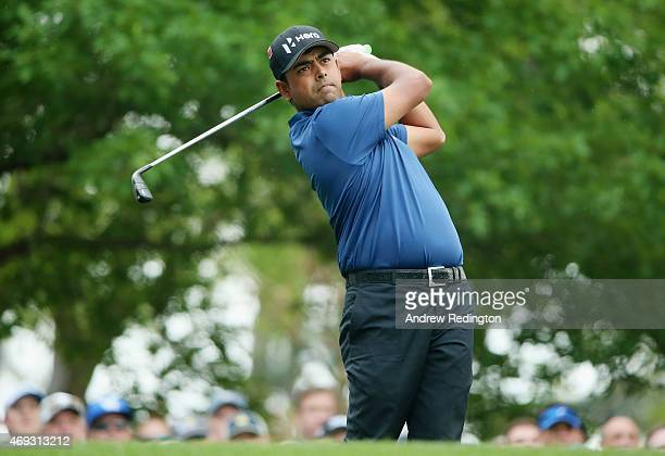 Anirban Lahiri of India hits his tee shot on fourth hole during the third round of the 2015 Masters Tournament at Augusta National Golf Club on April...