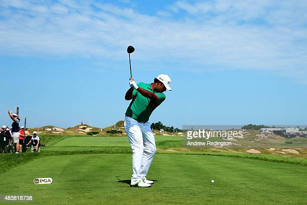 Anirban Lahiri of India hits his tee shot on the 11th hole during the first round of the 2015 PGA Championship at Whistling Straits on August 13 2015...