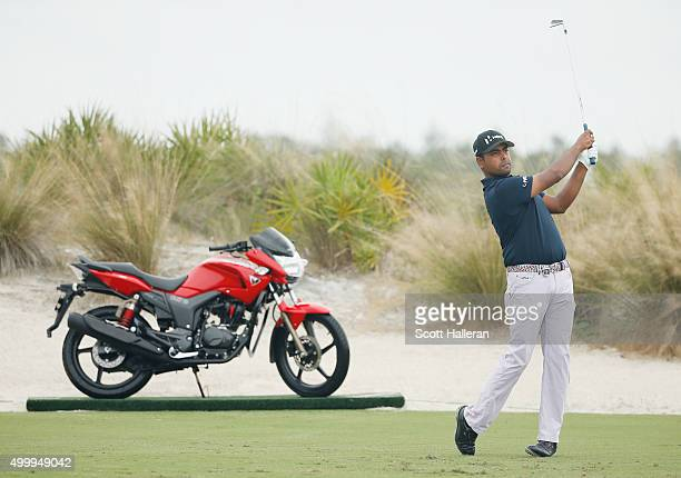 Anirban Lahiri of India hits his tee shot on the second hole during the second round of the Hero World Challenge at Albany The Bahamas on December 4...