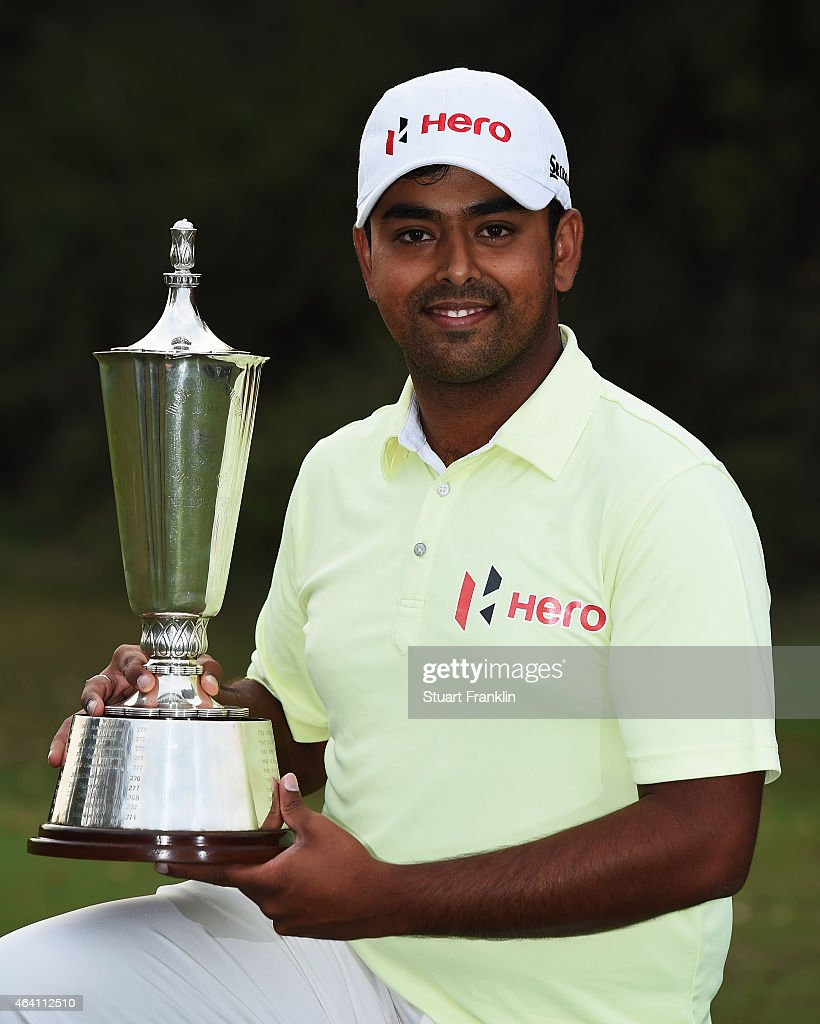 Anirban Lahiri of India holds the trophy after winning the Hero India Open Golf at Delhi Golf Club on February 22, 2015 in New Delhi, India.