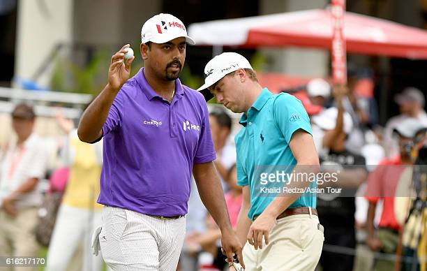Anirban Lahiri of India in action during day three of the 2016 CIMB Classic at Kuala Lumpur Golf Country Club on October 22 2016 in Kuala Lumpur...