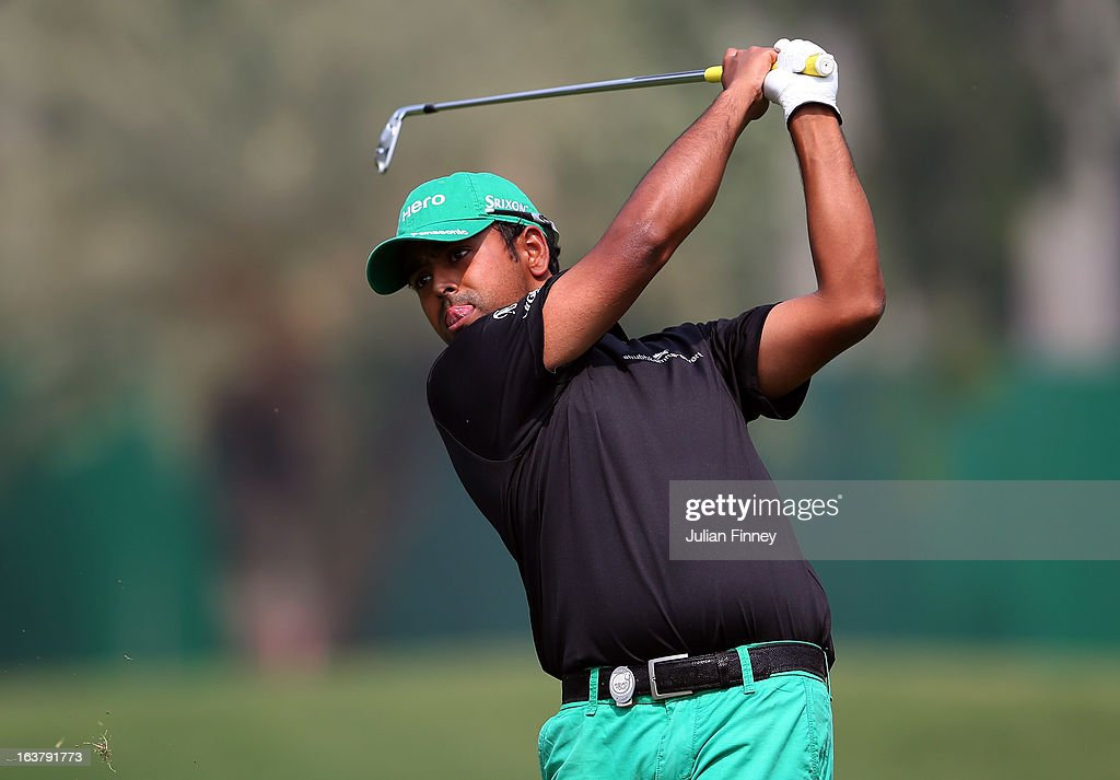 Anirban Lahiri of India in action during day three of the Avantha Masters at Jaypee Greens Golf Club on March 16, 2013 in Delhi, India.