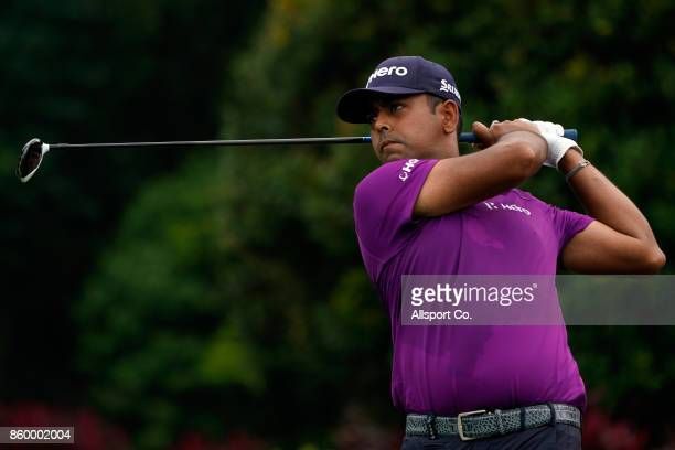 Anirban Lahiri of India in action on the 6th hole during the Pro Am ahead of the 2017 CIMB Classic at TPC Kuala Lumpur on October 11 2017 in Kuala...