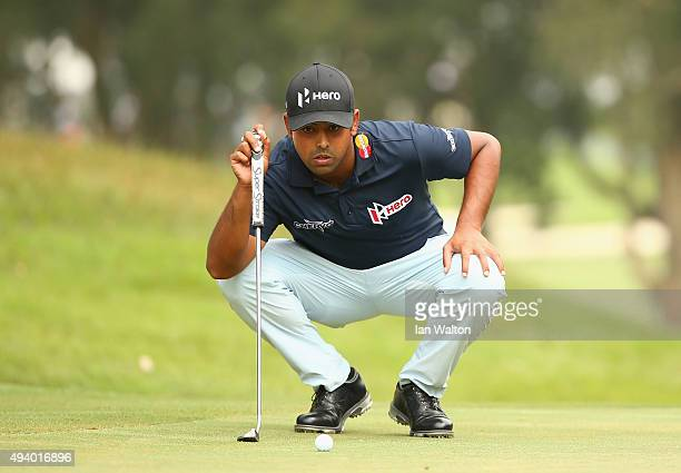 Anirban Lahiri of India lines up a putt during third round of the UBS Hong Kong Open at The Hong Kong Golf Club on October 24 2015 in Hong Kong Hong...