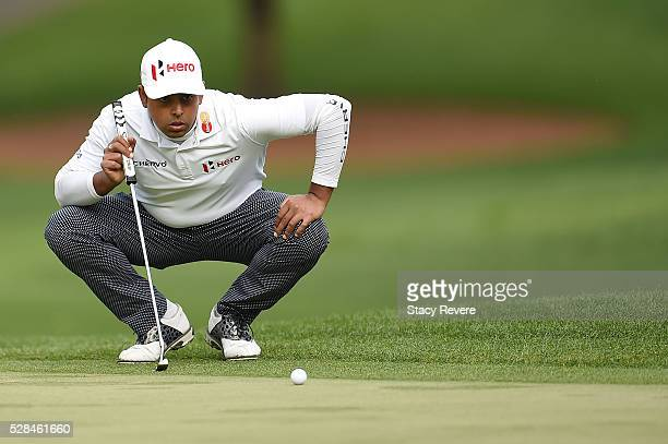 Anirban Lahiri of India lines up a putt on the fifth green during the first round of the Wells Fargo Championship at Quail Hollow on May 5 2016 in...