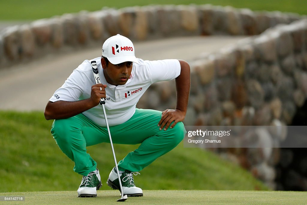 <a gi-track='captionPersonalityLinkClicked' href=/galleries/search?phrase=Anirban+Lahiri&family=editorial&specificpeople=5602830 ng-click='$event.stopPropagation()'>Anirban Lahiri</a> of India lines up a putt on the second green during the second round of the World Golf Championships - Bridgestone Invitational at Firestone Country Club South Course on July 1, 2016 in Akron, Ohio.