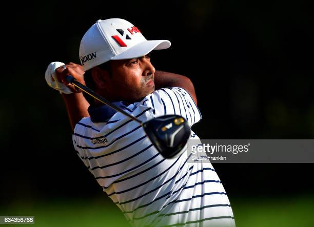 Anirban Lahiri of India plays a shot during Day One of the Maybank Championship Malaysia at Saujana Golf Club on February 9 2017 in Kuala Lumpur...