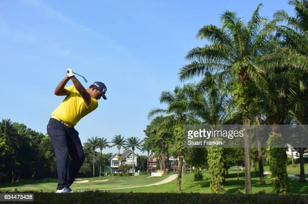 Anirban Lahiri of India plays a shot during Day Two of the Maybank Championship Malaysia at Saujana Golf Club on February 10 2017 in Kuala Lumpur...