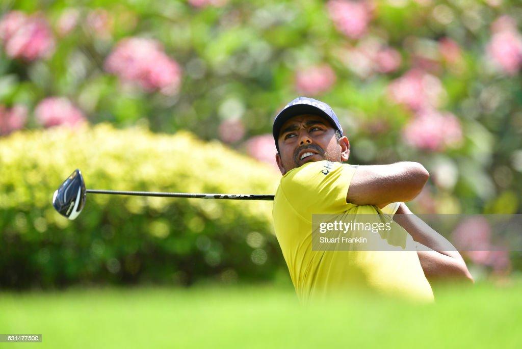 Anirban Lahiri of India plays a shot during Day Two of the Maybank Championship Malaysia at Saujana Golf Club on February 10, 2017 in Kuala Lumpur, Malaysia.