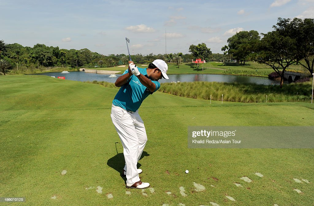 <a gi-track='captionPersonalityLinkClicked' href=/galleries/search?phrase=Anirban+Lahiri&family=editorial&specificpeople=5602830 ng-click='$event.stopPropagation()'>Anirban Lahiri</a> of India plays a shot during practice ahead of the CIMB Niaga Indonesian Masters at Royale Jakarta Golf Club on April 22, 2014 in Jakarta, Indonesia.