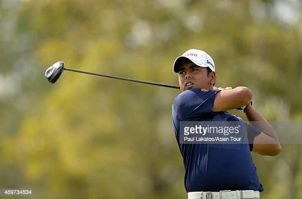 Anirban Lahiri of India plays a shot during round four of the King's Cup at Singha Park Khon Kaen Golf Club on November 30 2014 in Khon Kaen Thailand