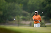 Anirban Lahiri of India plays a shot during round three of the Thailand Golf Championship at Amata Spring Country Club on December 13 2014 in Chon...